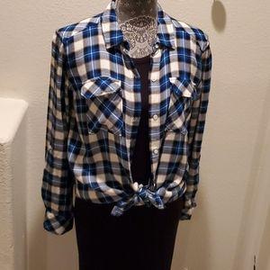 2/$15 Sale Workshop Plaid Button Front Shirt sz  M